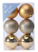 Gold Shatterproof Baubles (8cm) (6 pieces)