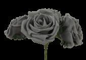 Large Cottage Foam Rose 8cm x 5 Heads Grey