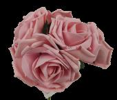 Large Cottage Foam Rose 8cm x 5 Heads Vintage Pink