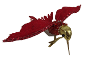 Glitter Hummingbird Clip 15cm Red