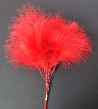 Fluff Feathers x 6 Stems x 6 Bunches Red