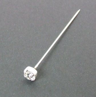 Diamonte Headed Pin 4cm x 72 Pcs Silver