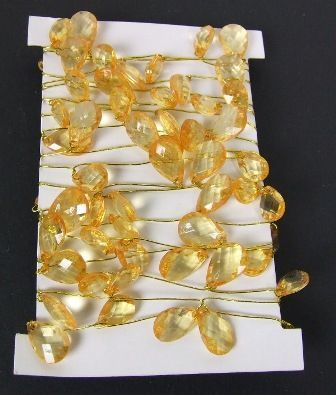 Crystal Garland on Gold Wire Amber-Gold