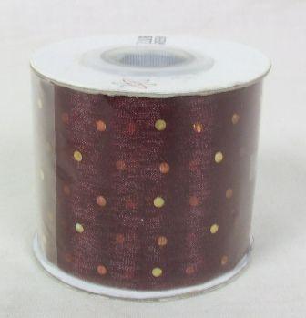 Cut Ribbon Gold Dot On Burg Organza 25mtr x 5cm