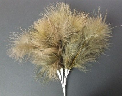 Fluff Feathers x 6 Stems x 6 Bunches Brown