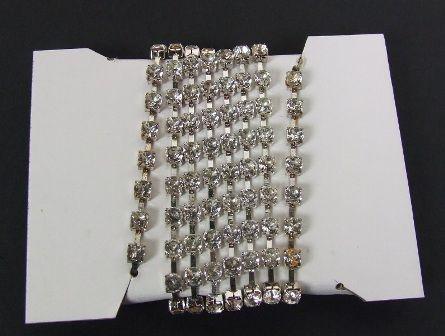 4mm x 1mtr Diamante Chain Silver