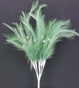 Diamonte Feathers Sage x 3 Bchs
