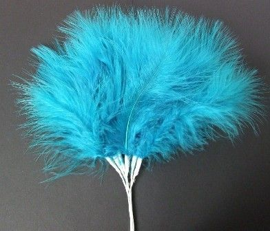Fluff Feathers x 6 Stems x 6 Bunches Dk Turquoise