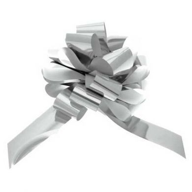 50mm Silver Pullbow Metallic Pk 20s