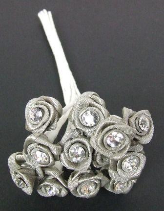 Diamante Ribbon Rose x 12 x 6 Bunches Grey