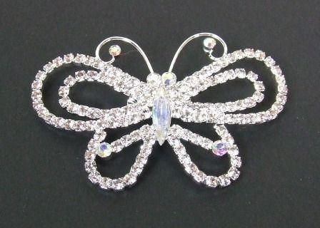 Butterfly Brooch W-Diamonte Silver