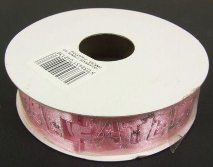 Celebrate Stencil Ribbon Pink-Silver 25mm x 10mtr