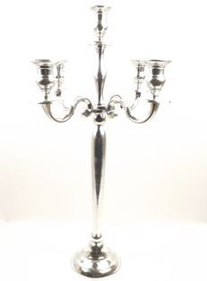 5 Arm Candleabra Shiny Silver - 40cm