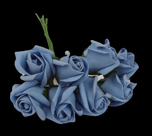 Colourfast Foam Rose Bud x 8 Heads App 3cm Lt Blue