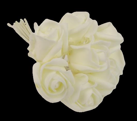 Colourfast Foam Rose Bud x 8 Heads App 3cm Ivory-Ivory