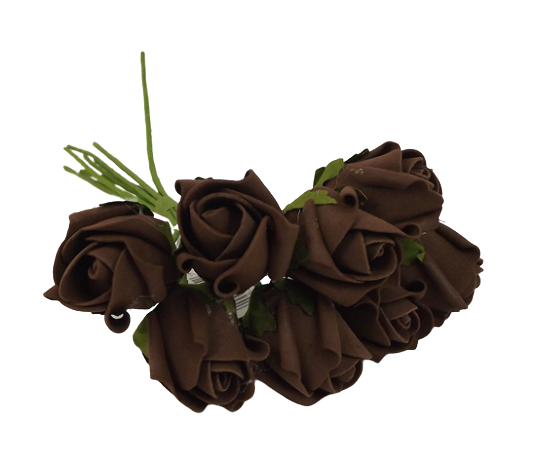 Colourfast Foam Rose Bud x 8 Heads App 3cm Brown