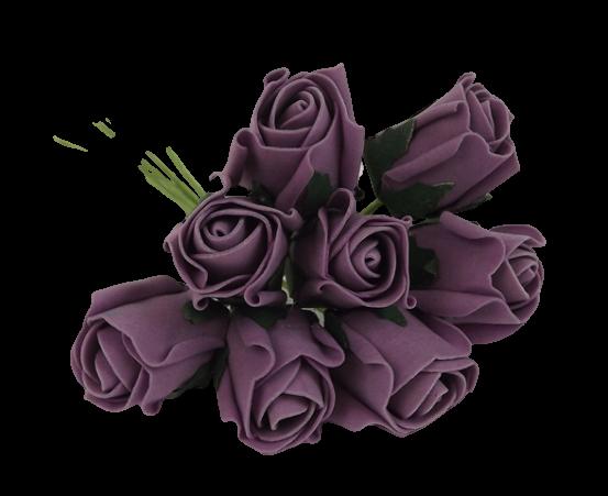 Colourfast Foam Rose Bud x 8 Heads App 3cm Lilac