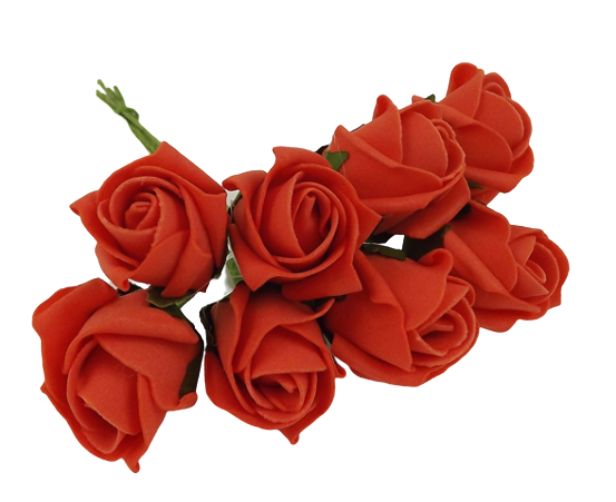 Colourfast Foam Rose Bud x 8 Heads App 3cm Orange
