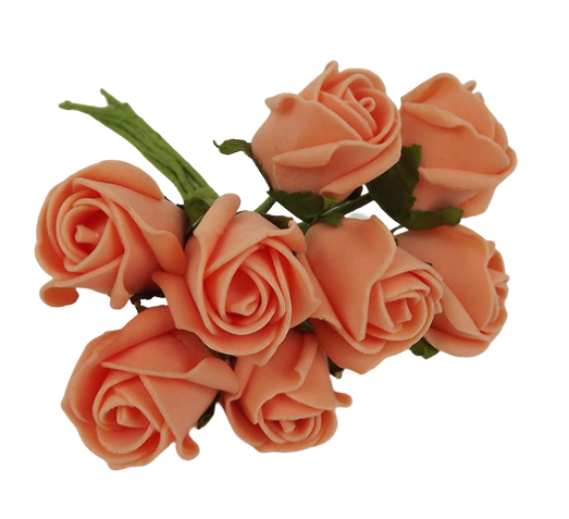 Colourfast Foam Rose Bud x 8 Heads App 3cm Apricot