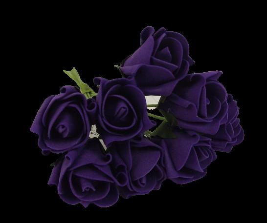 Colourfast Foam Rose Bud x 8 Heads App 3cm Purple
