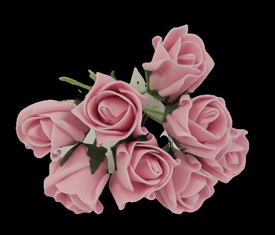 Colourfast Foam Rose Bud x 8 Heads App 3cm Vintage Pink