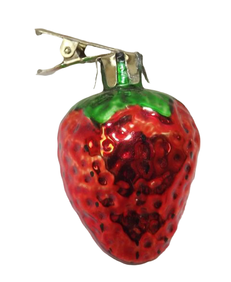 5cm Glass Strawberry Clip-Red