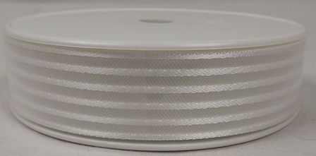 Basic Stripes Ribbon 25mm x 25mtr White