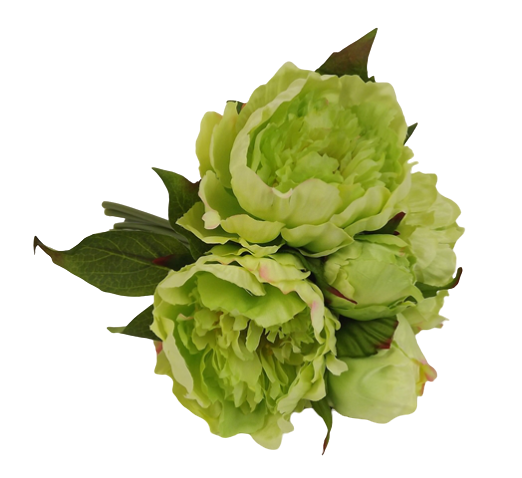 23cm Peony Bouquet -Green