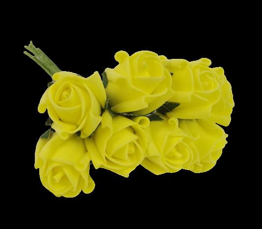 Colourfast Foam Rose Bud x 8 Heads App 3cm Lt Yellow