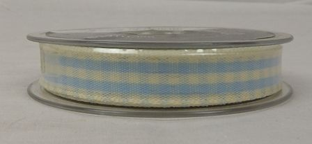 Natural Charms Gingham Ribbon 15mm x 20mts Blue/White