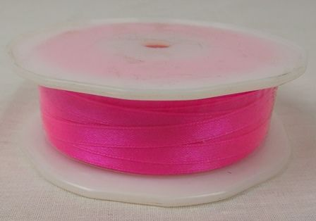 Double Face Satin 6.5mmx50Mtr Neon Pink