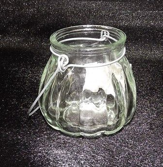 Clear Glass Holder W/Handle 7.5 x 7cm