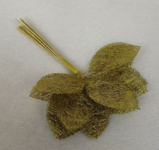 Fabric Rose Leaves x 12 Stems x 12 Bunches Gold