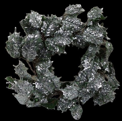 50cm Glittered Holly Wreath Green