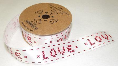 25mm x 10yds White Satin W/Red Love Ribbon