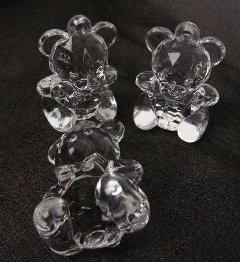 Acrylic Teddy Bear Clear 4.5cm x 6pcs