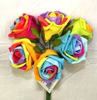 Colourfast Cottage Foam Rose x 6 Heads Rainbow