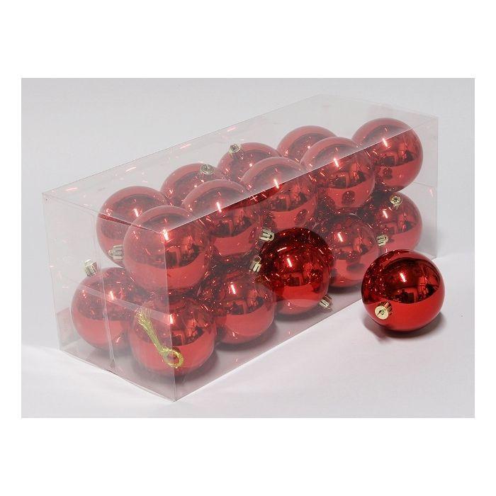 cb. 20 plastic balls red shiny 80 mm