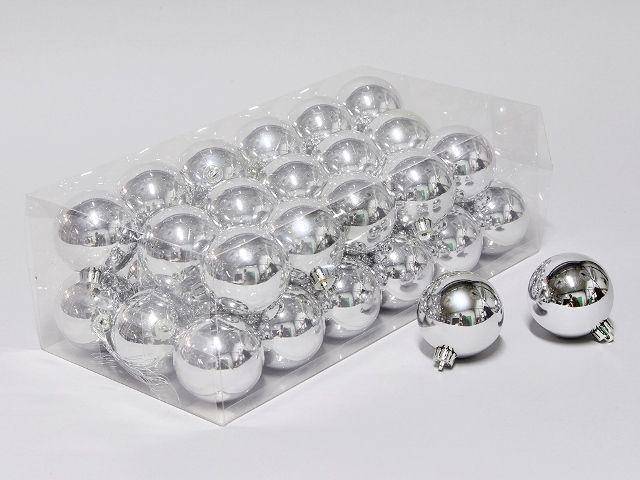 cb. 36 plastic balls silver shiny 60 mm