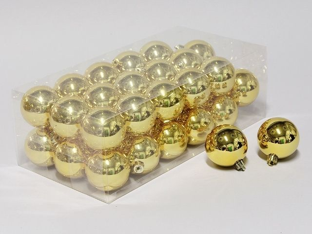 cb. 36 plastic balls gold shiny 60 mm