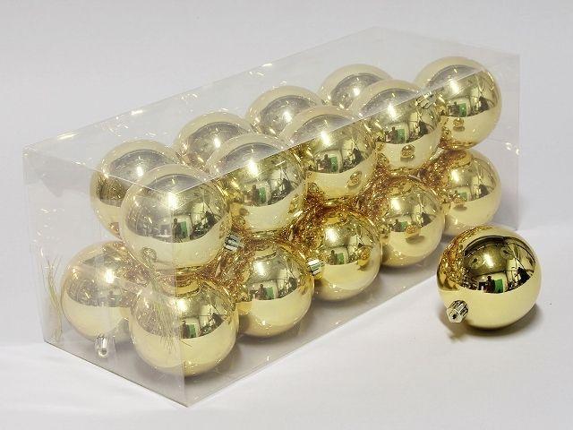cb. 20 plastic balls gold shiny 80 mm
