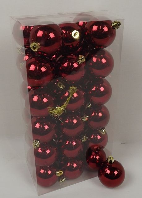 cb. 36 plastic balls dark red shiny 60 mm