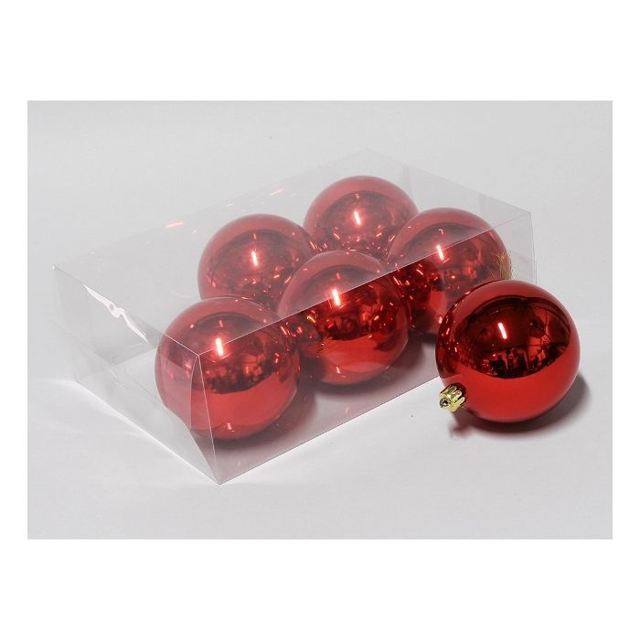 Baubles 100mm x 6 Red Shiny