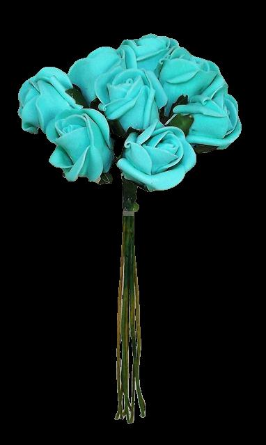 Colourfast Foam Rose Bud x 8 Heads App 3cm Tiffany Blue