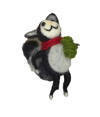 9cm Felt Cat With Scarf With ball of wool Black