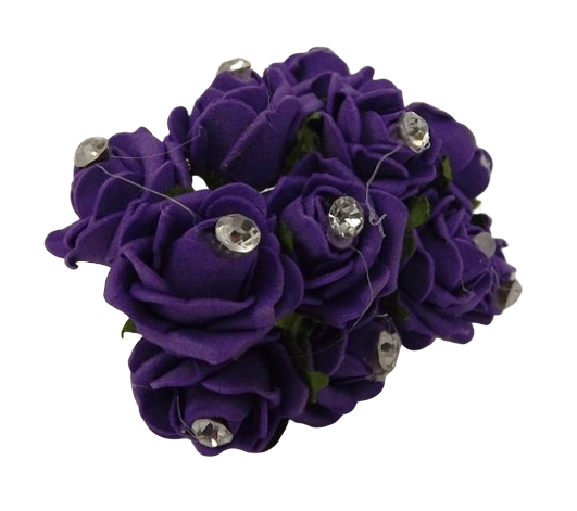 Diamante Mini Foam Rose App 2cm x 12 Stems Purple