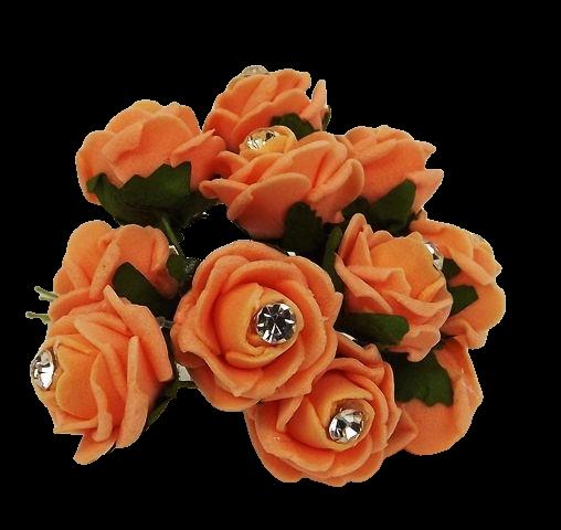 Diamante Mini Foam Rose App 2cm x 12 Stems Apricot