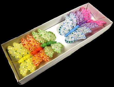 7cm Feather Butterflies Lil/Pk/Yel/Grn/Bl/Ora 20cm Wire