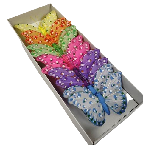 10cm Feather Butterfly - Lil/Pk/Yel/Gr/Bl & Or x 12