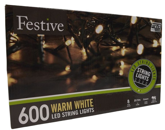600 Warm White Led Lights W/8 Multifunction -Timer